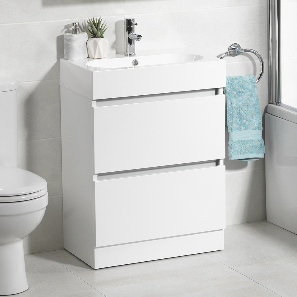 echo two drawer floor mounted cabinet bathroom