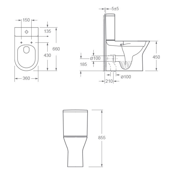 Blade Rimless Comfort Height Closed Back Close Coupled WC