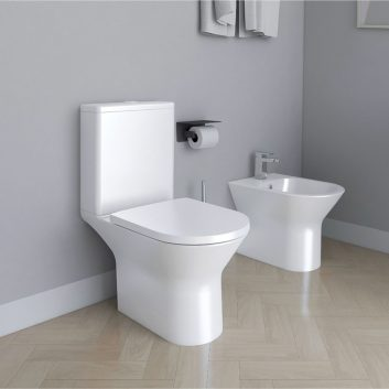 Blade Rimless Open Back Close Coupled WC Toilet