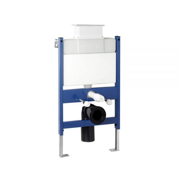 Reduced height wall hung WC bowl frame system